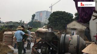 Công trình sử dụng Xi măng Long Sơn để đổ móng tại Long Biên, Hà Nội 16.01.2018
