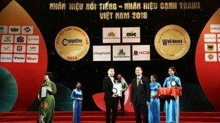 """Xi măng Long Sơn nhận giải thưởng """"Top 100 Nhãn hiệu nổi tiếng – Nhãn hiệu cạnh tranh 2018""""."""
