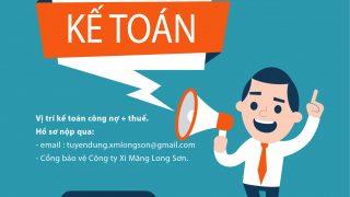 Xi Măng Long Sơn- Tuyển dụng kế toán công nợ + thuế