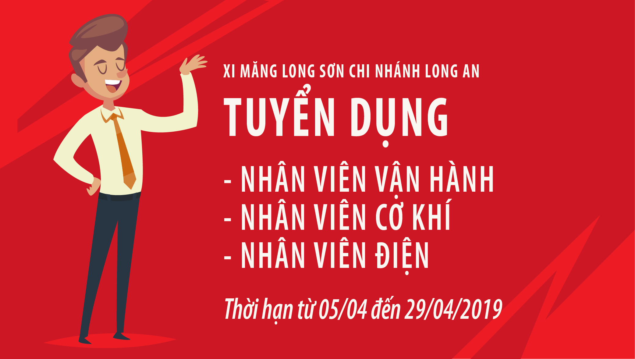 Nhà máy đóng bao Xi măng Long Sơn tại Long An  – Thông báo tuyển dụng.